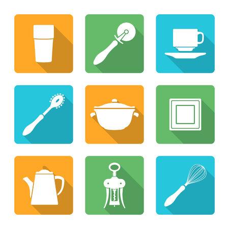 dinnerware: vector various flat white dinnerware tableware utensil icons with shadows