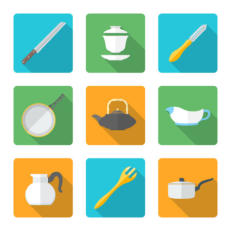 vector various flat design dinnerware tableware utensil icons with shadows Vector