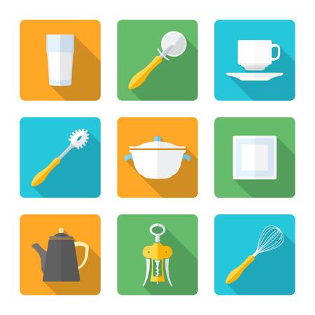 vector various flat design dinnerware tableware utensil icons with shadows