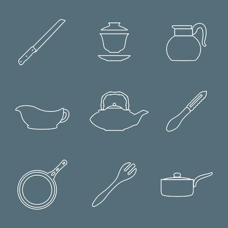 dinnerware: vector various outline dinnerware tableware utensil icons on dark Illustration
