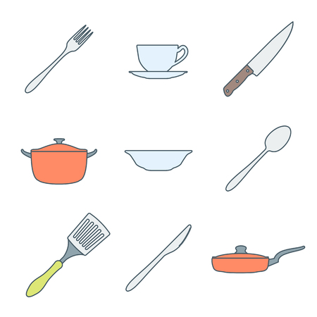 dinnerware: vector various colored outline dinnerware icons set