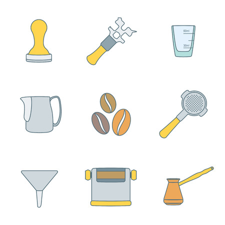 tamper: vector colored outline coffee barista equipment icons set tools espresso tamper, coffee wrench, measuring glass, pitcher, coffee beans, filter holder, funnel, knockbox, turk coffee pot