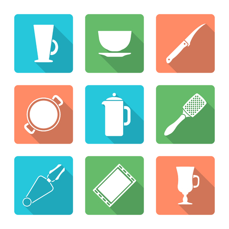 dripping pan: vector white silhouette falt design dinnerware tableware utensil icons mug, soup plate, citrus knife, pan, teapot, grater, tongs, oven-tray, dripping pan, mug, cup