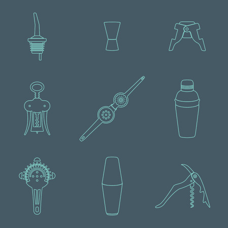 bartender: vector outline barman equipment icons set tools pour spout, jigger, plug, winged corkscrew, wine opener, squeezer, shaker, cocktail strainer on dark Illustration
