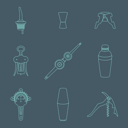 vector overzicht barman apparatuur pictogrammen set gereedschappen schenktuit, jigger, stekker, gevleugelde kurkentrekker, flesopener, knijper, shaker, cocktail zeef op donkere