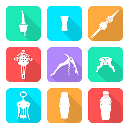 cocktail strainer: vector white flat design barman equipment icons set tools pour spout, jigger, plug, winged corkscrew, wine opener, squeezer, shaker, cocktail strainer with shadows