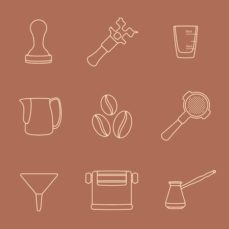 barista: vector brown outline coffee barista equipment icons set tools espresso tamper, coffee wrench, measuring glass, pitcher, coffee beans, filter holder, funnel, knockbox, turk coffee pot