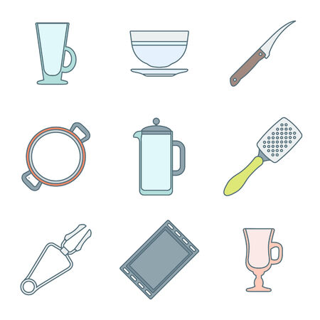 dripping pan: vector colored outline dinnerware tableware utensil icons mug, soup plate, citrus knife, pan, teapot, grater, tongs, oven-tray, dripping pan, mug, cup