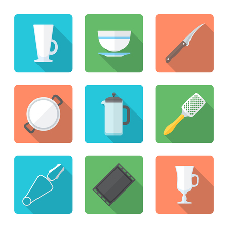 dripping pan: vector colored falt design dinnerware tableware utensil icons mug, soup plate, citrus knife, pan, teapot, grater, tongs, oven-tray, dripping pan, mug, cup Illustration