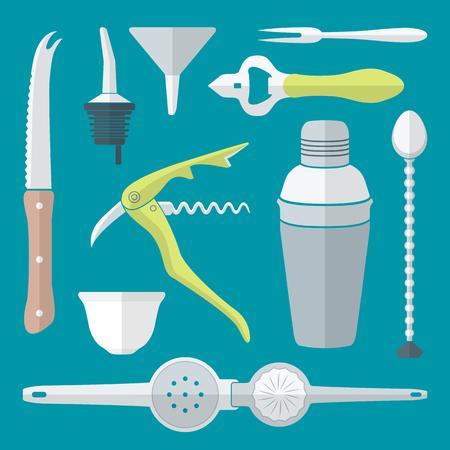 vector flat design barman equipment set tools pour spout, sommelier corkscrew, opener, squeezer, shaker, knife, funnel, fork, bar mixing spoon Illustration