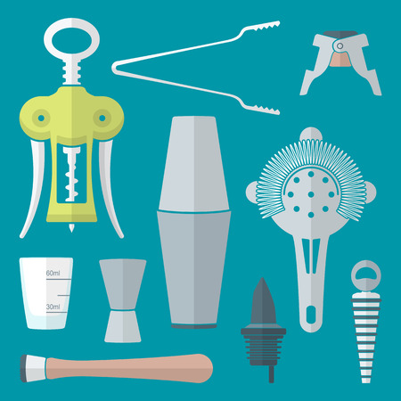 strainer: vector flat colored design barman equipment set tools pour spout, winged corkscrew, champagne plug, measuring glass, muddler, shaker, jigger, strainer