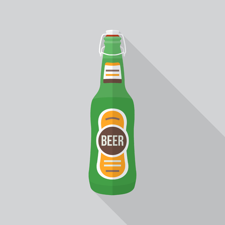 gölge ile fiş simgesi ile renkli düz tasarım yeşil bira şişesi Illustration