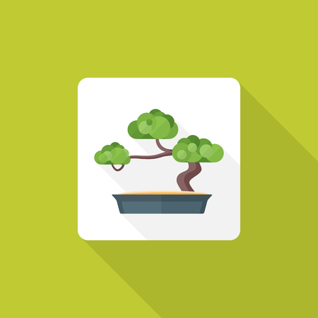 colored flat design bonsai tree pot icon with shadow