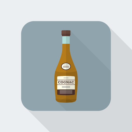 colored flat design cognac bottle icon with shadow