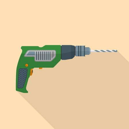 electric hole: colored flat design electric hand drill icon with shadow