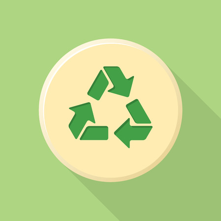 green color flat design recycle sign icon with shadow Illustration