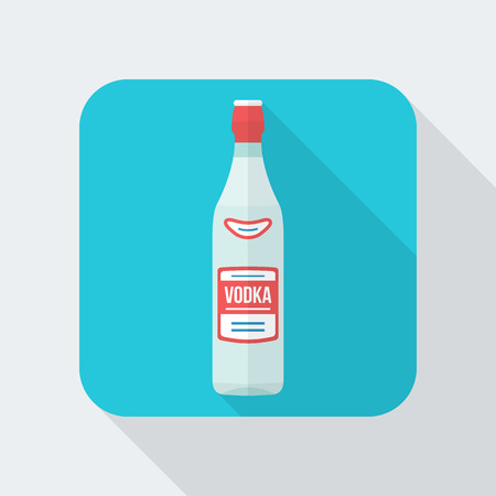 vodka bottle: colored flat design vodka bottle icon with shadow