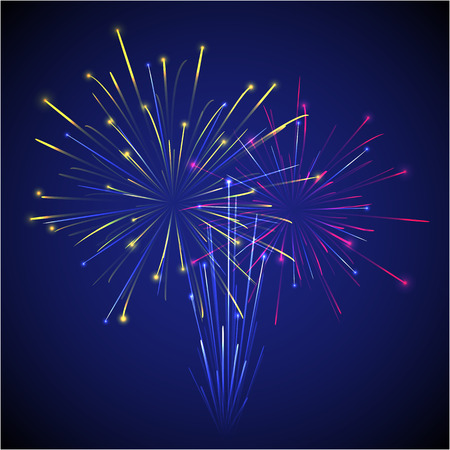 vector colored chinese new year three fireworks on dark sky illustration