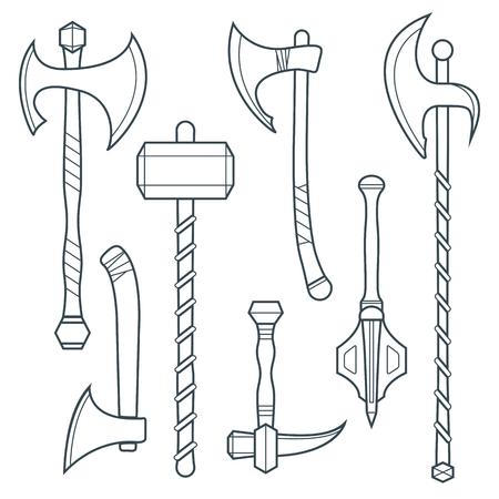 ベクトル暗い灰色のアウトラインは冷たい中世武器セット斧斧ハンマー斧槍の戦い poleax 写真素材 - 35638526
