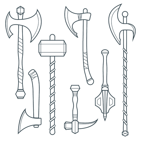 vector dark gray outline cold medieval weapons set with ax axe hammer  halberd battle poleax