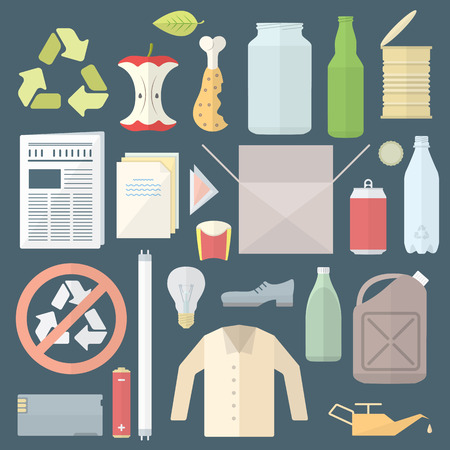 vector colored flat design icons and signs for separate collection of waste Ilustracja