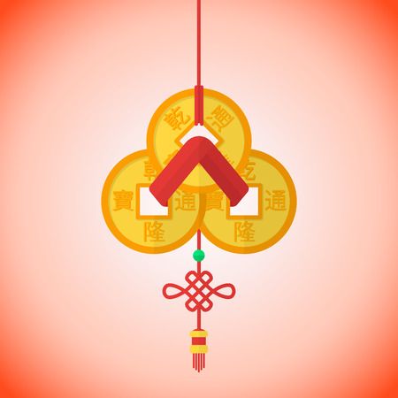 batch: vector flat design chinese new year three feng shui coins batch red ribbon illustration