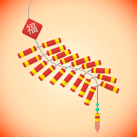 vector colored flat design chinese new year firecrackers batch Illustration