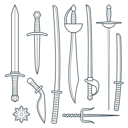 vector dark gray outline cold medieval weapons set with sword falchion glaive steel dagger dirk whiner saber saber sword katana bokken trident sai shrunken star Vector
