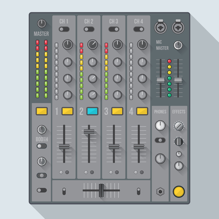 knobs: vector flat design colored sound dj mixer with knobs and sliders illustration witch shadows Illustration