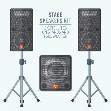 disco speaker: vector colored flat design loudspeakers kit satellites on stands and subwoofer illustration Illustration