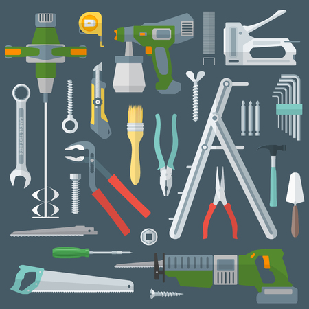 foldable: vector colored various flat design house repair tools instruments set