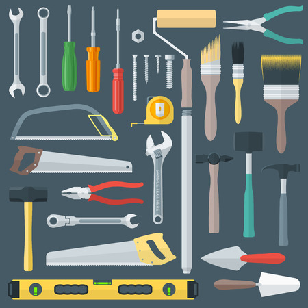 vector colored various flat design house remodel instruments set Vector