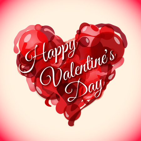 vector colored unusual red heart valentines day background with sign postcard template