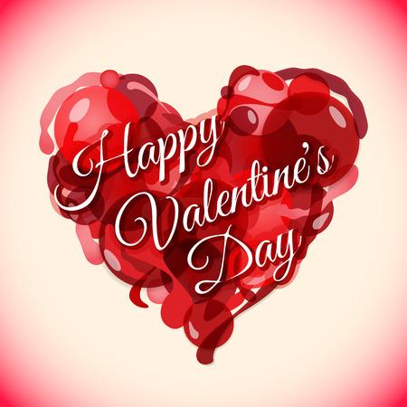 Vektör işareti Kartpostal şablonu ile sıradışı kırmızı kalp Sevgililer Günü arka plan renkli