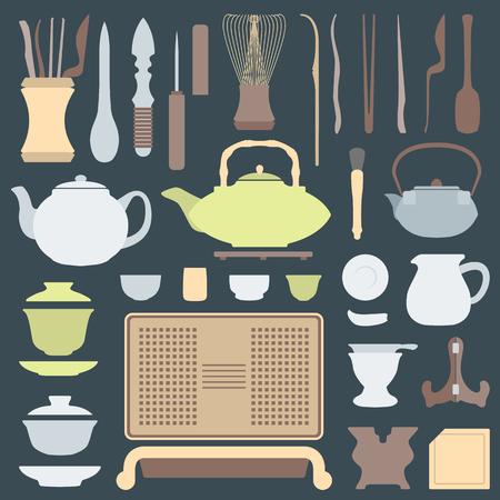 vector solid colors tea ceremony tools and equipment set Illustration