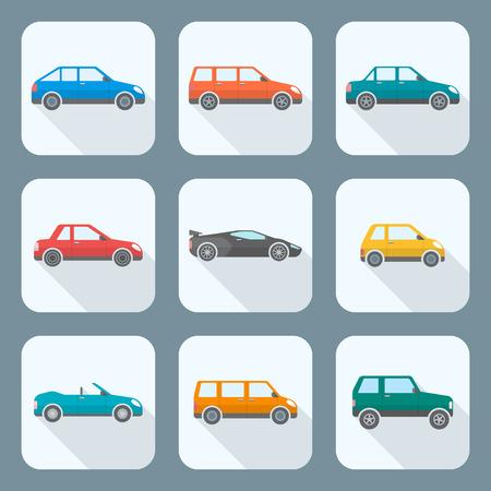 Vektör renkli düz tasarım vücut tipleri arabalar sınıflandırma simgeleri ayarlamak sedan sedan hatchback coupe cabriolet station wagon microcar kompakt supercar Sportcar off-road geçiti minivan kamp minibüs