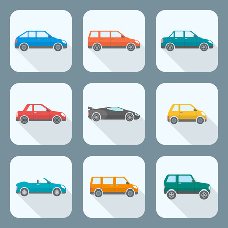 vector colored flat design body types cars classification icons set sedan saloon hatchback station wagon coupe cabriolet microcar compact supercar sportcar off-road crossover minivan camper minibus Illustration