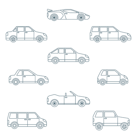 classification: vector dark outline body types cars classification icons set