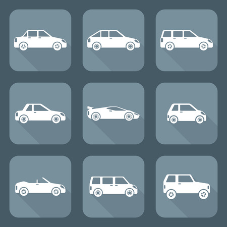 classification: vector white flat design various body types of cars classification icons   Illustration