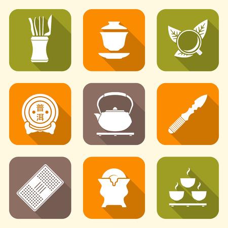 chinese tea cup: vector de color blanco t� chino herramientas de recopilaci�n de iconos de equipo ceremonia set de t� taza gaiwan deja cuchillo hervidor puer soporte de la torta de la tetera de t� que sirve de mesa bandeja platillo titular de porcelana