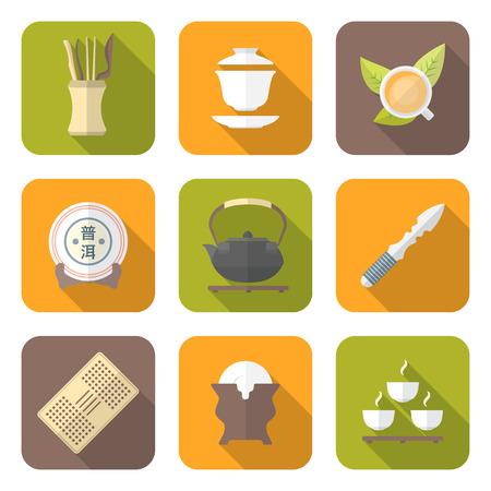 chinese tea cup: vector de color t� chino herramientas de recopilaci�n de iconos de equipo ceremonia set de t� taza gaiwan deja cuchillo hervidor puer soporte de la torta de la tetera de t� que sirve de mesa bandeja platillo titular de porcelana