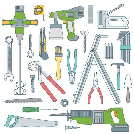 Vektör renkli anahat çeşitli ev aletleri tamir araçları set