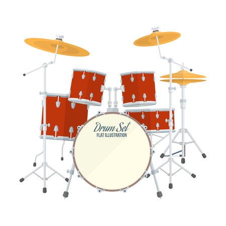 bass drum: color flat style vector drum set on white background bass tom-tom ride cymbal crash hi-hat snare stands Illustration