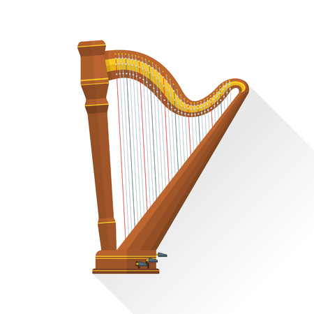 color flat style vector classical orchestral pedal harp on white background