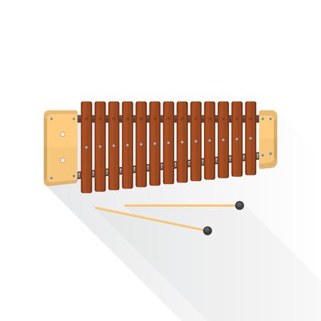 symphonic: color flat style vector wood xylophone with sticks on white background