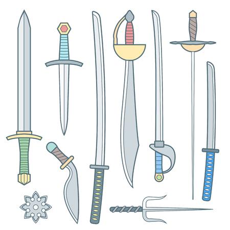 shrunken: vector colored outline cold medieval weapons set with sword falchion glaive steel dagger dirk whiner saber saber sword katana bokken trident sai shrunken star Illustration