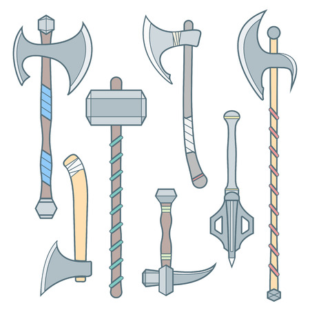 halberd: vector colored outline cold medieval weapons set with ax axe hammer mace halberd battle poleax