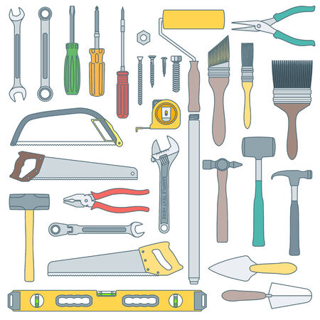 vector colored outline various house remodel instruments set Ilustração