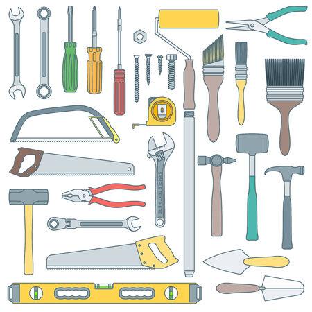 remodel: vector colored outline various house remodel instruments set Illustration