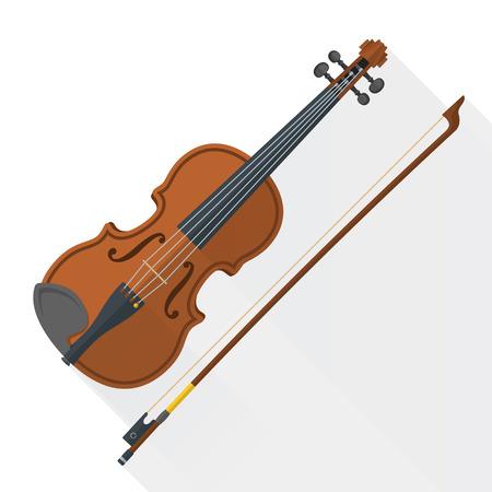 geigen: Farbe Flach Stil Vektor Violine Geige Bogen auf wei�en Hintergrund
